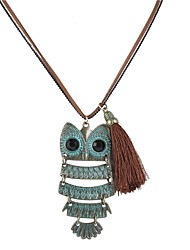 cheap -Women's Pendant Necklace Owl Simple Fashion Cord Leather Alloy Light Green Necklace Jewelry For Daily
