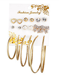 cheap -Women's Crystal Stud Earrings Hoop Earrings Heart Bowknot Ladies Sweet Fashion Elegant Imitation Pearl Earrings Jewelry Gold / Silver For Gift Valentine 18pcs