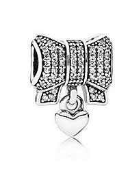 cheap -DIY Jewelry 1 pcs Beads Imitation Diamond Alloy Silver Bowknot Bead 0.5 cm DIY Necklace Bracelet