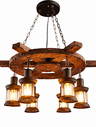 cheap -6-Light 78 cm Mini Style Pendant Light Wood / Bamboo Wood / Bamboo Industrial Painted Finishes Retro 110-120V / 220-240V