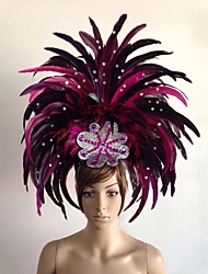 cheap -Carnival Hat / Feather Samba Headdress / Headwear Adults' Women's Green / Blue / Fuchsia Feather Cosplay Accessories Christmas / Carnival / Masquerade Costumes / Female
