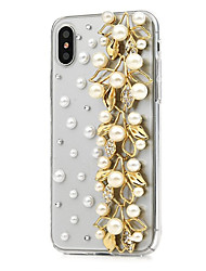 cheap -Case For Apple iPhone X / iPhone 8 Plus / iPhone 8 Rhinestone Full Body Cases Flower Hard PU Leather