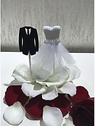 cheap -Cake Topper Wedding Bridal Classic Couple High Quality Paper Wedding Party with Faux Pearl Lace 1 OPP
