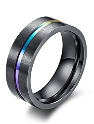 cheap -Men's Band Ring Groove Rings Black Titanium Steel Tungsten Steel Titanium Circle Fashion Initial Wedding Masquerade Jewelry