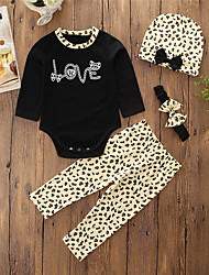 cheap -Baby Girls' Simple / Casual Daily / Going out Animal Leopard Print / Slim / Print Long Sleeve Regular Regular Cotton Clothing Set Black / Toddler
