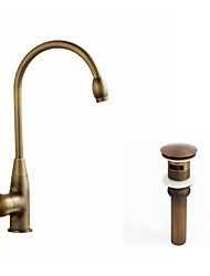 cheap -Kitchen faucet - Single Handle One Hole Antique Copper Standard Spout / Tall / High Arc Centerset