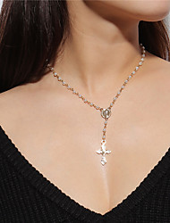 cheap -Women's Pendant Necklace Cross Vintage Imitation Pearl Alloy Gold Necklace Jewelry For Daily Street