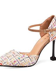 cheap -Women's Shoes PU(Polyurethane) Spring / Summer Comfort Heels Stiletto Heel Pointed Toe Black / Beige / Gray