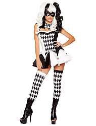 cheap -Burlesque Clown Circus Cosplay Costume Women's Halloween Festival / Holiday Acrylic Fibers Black Women's Carnival Costumes Plaid / Check / Top