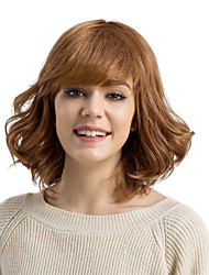 cheap -Human Hair Capless Wigs Human Hair Curly / Deep Wave Short Hairstyles 2019 / With Bangs Side Part Medium Length Machine Made Wig Women's