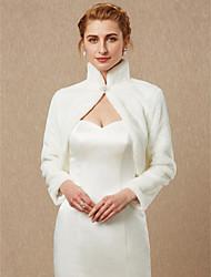 cheap -Long Sleeve Faux Fur Wedding / Party / Evening Women's Wrap With Rhinestone Shrugs