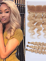 cheap -3 Bundles with Closure Malaysian Hair Body Wave Remy Human Hair 100% Remy Hair Weave Bundles 345 g Hair Weft with Closure 8-28 inch Ombre Human Hair Weaves Shedding Free Tangle Free Full Cuticle / 8A
