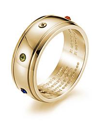 Недорогие -Муж. Кольцо Кольца Грув Золотой Серебряный Титановая сталь Титан Сталь Мода Духовное развитие Свадьба Маскарад Бижутерия