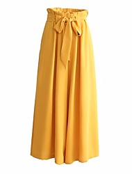 cheap -Women's Vintage / Sophisticated Daily Going out Wide Leg Pants - Solid Colored Cotton Black Yellow M L XL