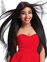 cheap -Synthetic Wig Straight Straight Wig Long Very Long White Natural Black Synthetic Hair Women's Natural Hairline Middle Part African American Wig Black White