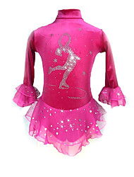 cheap -Figure Skating Dress Women's Girls' Ice Skating Dress Violet Peach Spandex Stretchy Competition Skating Wear Sequin Long Sleeve Figure Skating