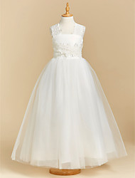 cheap -Ball Gown Floor Length Flower Girl Dress - Lace / Tulle Sleeveless Square Neck with Appliques / Bow(s) / First Communion
