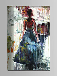 cheap -Oil Painting Hand Painted - People Comtemporary Simple Modern Stretched Canvas