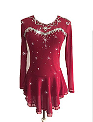 cheap -Figure Skating Dress Women's Girls' Ice Skating Dress Burgundy Spandex Stretchy Competition Skating Wear Sequin Long Sleeve Figure Skating