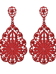 cheap -Women's Drop Earrings Floral / Botanicals Flower Ladies Fashion Imitation Diamond Earrings Jewelry Red / Blue / Dark Pink For Going out Work