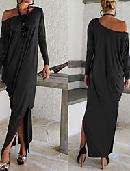 cheap -Off Shoulder Maxi Tunic Dress Women's Party Holiday Going out Dress Solid Colored Split Spring Brown Black Gray M L XL Loose