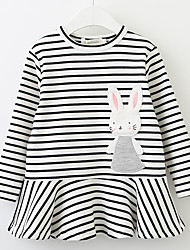 cheap -Toddler Girls' Casual / Basic Daily / School Solid Colored / Striped / Floral Cut Out / Vintage Style / Classic Long Sleeve Cotton Dress White 2-3 Years(100cm) / Cute / Embroidered / Print