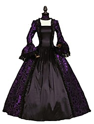 cheap -Rococo Victorian Costume Women's Dress Purple Vintage Cosplay Flocked Long Sleeve Bell Sleeve Ankle Length Ball Gown Plus Size Customized / Floral