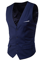 cheap -Men's V Neck Vest Short Solid Colored Daily Spring Sleeveless Black / Purple / Red S / M / L