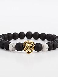cheap -Men's Women's Onyx Black Matte Bead Bracelet Bracelet Vintage Ethnic Fashion Alloy Bracelet Jewelry Gold / Silver For Gift Evening Party
