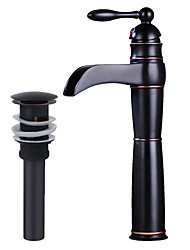 cheap -Bathroom Sink Faucet - Waterfall Oil-rubbed Bronze Centerset Single Handle One Hole