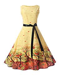 cheap -Kids Girls' Street chic Daily Going out Print Sleeveless Dress Yellow / Cotton / Cute