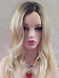 cheap -Synthetic Wig Wavy Wavy With Bangs Wig Blonde 17-20inch Black / Gold Synthetic Hair Women's Side Part Blonde
