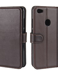 cheap -Case For Xiaomi Xiaomi Redmi Note 5A Wallet / Card Holder / with Stand Full Body Cases Solid Colored Hard Genuine Leather