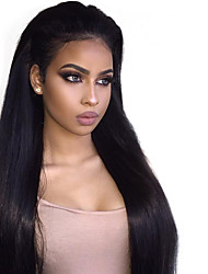 cheap -Remy Human Hair Glueless Lace Front Lace Front Wig Kardashian style Brazilian Hair Straight Wig 150% Density with Baby Hair Natural Hairline 100% Virgin Women's Short Medium Length Long Human Hair