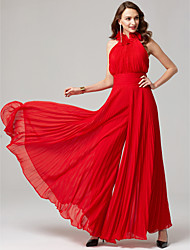cheap -Jumpsuits Hot Red Wedding Guest Formal Evening Dress High Neck Sleeveless Floor Length Chiffon with Pleats 2020