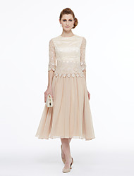 cheap -Ball Gown / A-Line Jewel Neck Tea Length Chiffon / Beaded Lace Half Sleeve Mother of the Bride Dress with Lace / Pleats / Appliques 2020 / Illusion Sleeve