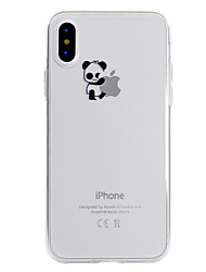 cheap -Case For Apple iPhone X / iPhone 8 Plus / iPhone 8 Transparent / Pattern Back Cover Playing with Apple Logo / Panda Soft TPU