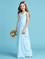 cheap -A-Line / Princess V Neck Floor Length Chiffon Junior Bridesmaid Dress with Sash / Ribbon / Criss Cross / Pleats