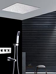 Недорогие -Смеситель для душа - Современный Хром Монтаж на стену Керамический клапан Bath Shower Mixer Taps / Латунь / Четыре Ручки четыре отверстия