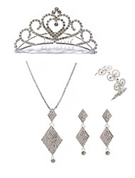 cheap -Women's Tiaras Bridal Jewelry Sets European Fashion Imitation Diamond Earrings Jewelry White For Wedding Party / Body Jewelry