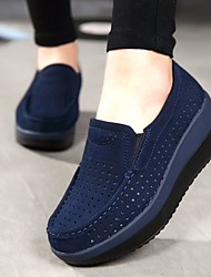 cheap -Women's Loafers & Slip-Ons Wedge Heel Round Toe Cowhide Comfort Summer / Fall Black / Red / Dark Blue / EU40