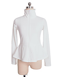 cheap -Figure Skating Fleece Jacket Women's Girls' Ice Skating Top White Spandex Stretchy Performance Practise Skating Wear Solid Colored Long Sleeve Ice Skating Figure Skating