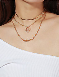 cheap -Women's Pendant Necklace Layered Necklace Layered Cross Heart Letter Multi Layer Alloy Gold Necklace Jewelry For Party Valentine