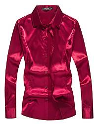 cheap -Men's Wedding Club Boho Silk Shirt - Solid Colored Black / Long Sleeve / Spring