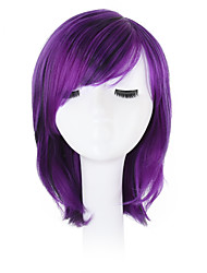 cheap -Synthetic Wig Wavy Wavy Bob Pixie Cut With Bangs Wig Bright Purple Synthetic Hair Natural Hairline Side Part African American Wig Purple