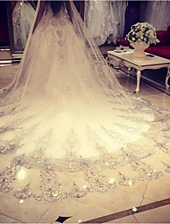 cheap -One-tier Lace Applique Edge Wedding Veil Chapel Veils 53 Lace Crystals/Rhinestones Tulle