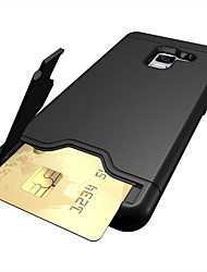 cheap -Phone Case For Samsung Galaxy Back Cover A5(2018) A3 A5 A7(2017) A8 2018 A8+ 2018 A7 Card Holder Shockproof with Stand Solid Color Hard PC