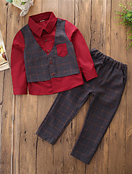 cheap -Toddler Boys' Simple Casual Party Daily Plaid Patchwork Long Sleeve Regular Regular Cotton Clothing Set Blue