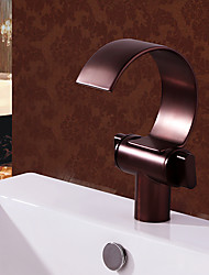 cheap -Bathroom Sink Faucet - Waterfall Oil-rubbed Bronze Centerset Two Handles One HoleBath Taps / Brass