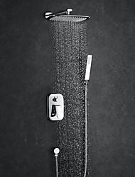 cheap -Shower Faucet - Contemporary Chrome Shower System / Brass / Single Handle Four Holes